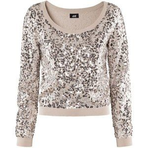 LIKE NEW H&M silver beige sequin sweater large L